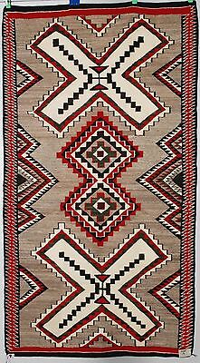 Early Navajo rug blanket Native American textile weaving Red Mesa vibrant large
