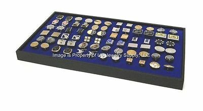 1 Large Blue 36 Pair Cufflinks Storage Display Black Stackable Tray
