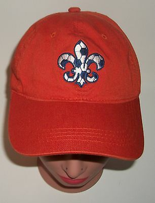 "BSA Orange Hat with Blue & White Embroidered Fleur di Lis ""MFS"" OSFM Boy Scouts"