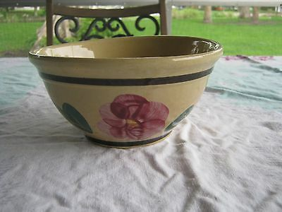 Watt Pottery Rio Rose Pansy #7 Mixing Bowl As Is
