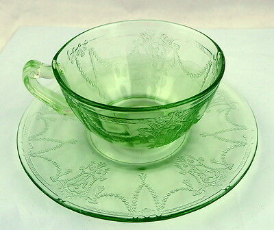 Cameo Cup and Saucer Green Hocking Depression Glass