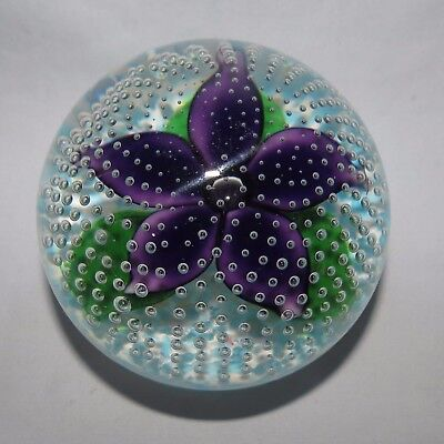 JOHN DEACONS GLASS SCOTLAND PAPERWEIGHT FLOWER IN RAIN signed JD
