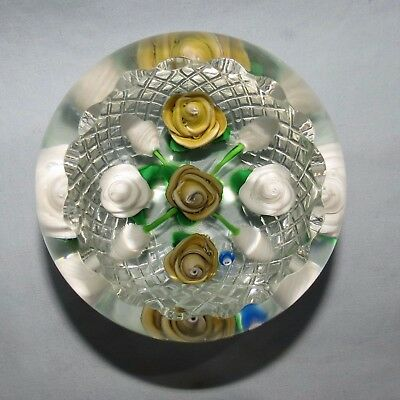 John Deacons Glass Scotland Lampwork Paperweight Yellow Roses Facetted