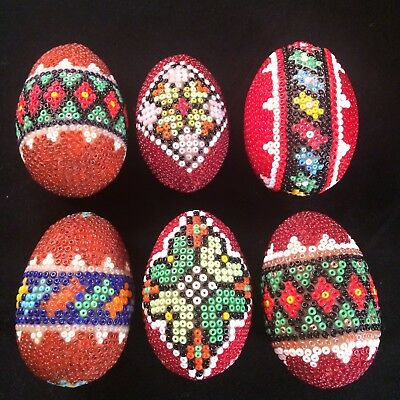 6 Vintage Pysanky Biserky Glass Beaded Eggs Pisanki Waxed Egg Ukraine Easter
