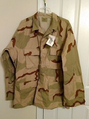 New Usgi Military Issue 3 Color Desert Camo Bdu Dcu Coat Shirt Ripstop Xlarge