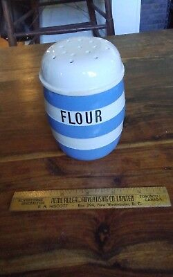 Vtg Cornish Kitchen Ware blue TG Green green shield flour shaker with lid 5""