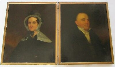 Rare Pair Antique Late 18th Early 19th Century Oil Portrait Paintings