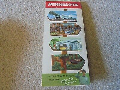 Vintage 1953 Cities Service Gas Oil Service Station Minnesota Road Map