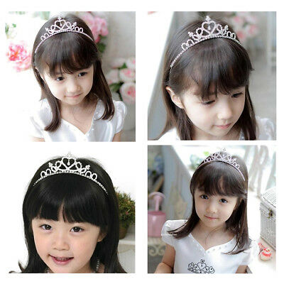 TINKSKY Girl Crystal Rhinestones Heart Shaped Crown Headband Tiara Wedding Party