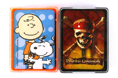 Lot of Pirates of Caribbean & Peanuts Snoopy Miniature Playing Card Decks