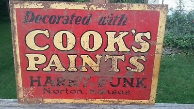 "VTG 28 X 20 Metal Sign ""DECORATED WITH COOKS PAINTS HARRY FUNK NORTON KANSAS"