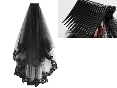 2T Black Lace Cathedral Birdcage Wedding Mantilla Gothic Veil Hallowmas Cosplay