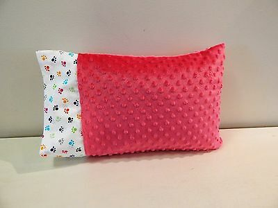 NWT Pink Pet Paws Minky Dot Toddler Pillowcase 12x16 Girl Bed Nap Mat Cat Dog