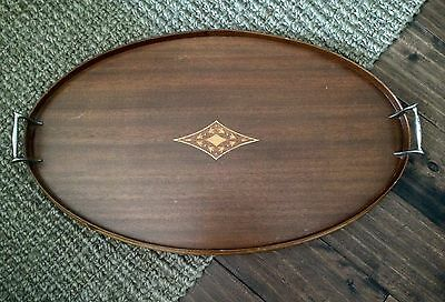"Antique Vintage Wooden Inlay 24"" Serving Tea Tray Butler Tray Oval"