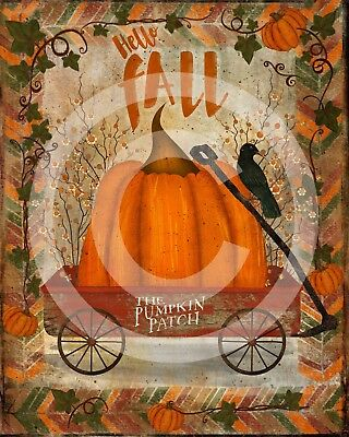 Primitive Folk Art  PRINT ONLY 8x10 - Hello Fall Red Wagon Pumpkin Path