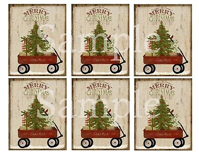 Primitive Pantry Jar Candle Labels 3x4 Merry Christmas Tree Red Wagon