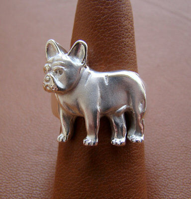 Sterling Silver French Bulldog Standing Study Ring