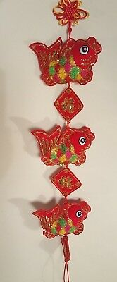 Chinese Fabric 3 Red - Multi Color Fish of Luck Feng Shui Symbol Hanging
