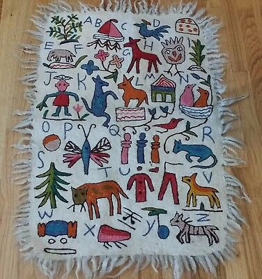 Hand Embroidered Wool Felted Rug Mat Wall Hanging Primitive ABCs