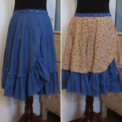 Square Dancing Skirt Reversible Handmade Blue and Floral Pattern Small