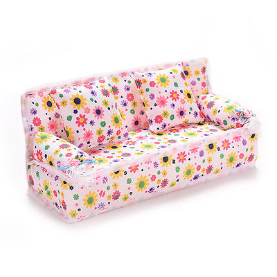 3Pcs/set Mini Dollhouse Furniture Flower Printing Cloth Sofa Couch&2 CushionsEVU
