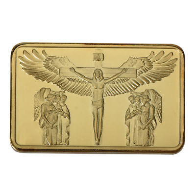 WR Jesus Christ On The Cross GOLD Bullion Bar Souvenirs Collection Gifts for Dad