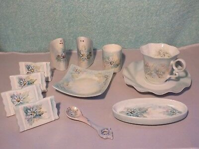 12 pce Ceramic tea set. Hand painted by Tricia Holland