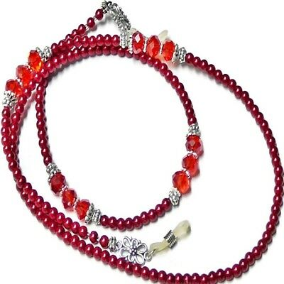 Reading Eye glasses lanyard chain red pearl and crystal