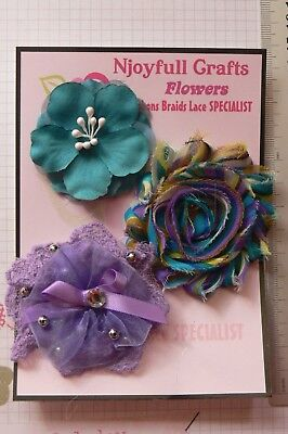 PURPLE TEAL Floral Organza Lace Satin 3 Flower Pack 50-65mm Njoyfull Crafts O4