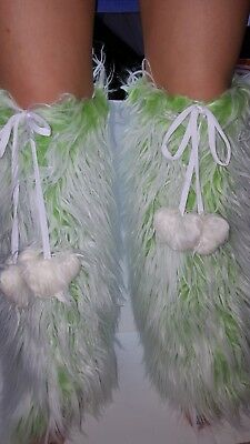 I HeartRaves Green & White Fluffies Legwarmer Girls/Teens Dance Wear OSFM - NWOT