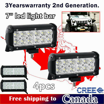 2x 36W 7inch CREE LED Light Bar Work Off Road Truck Boat Driving Jeep Ford SUV