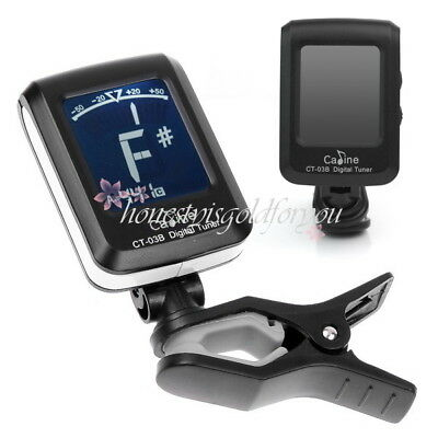 Black New Clip-On Digital Electronic LED Automatic Guitar Tuner With Battery