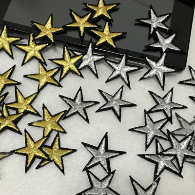 IRON ON Golden Star Embroidery Applique Patch bag hat coat dress cloth accessory