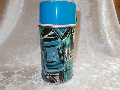 Vintage King Seeley Abstract Blue and Black Metal Thermos