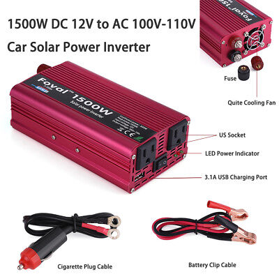 1500W DC 12V to AC 110V Car Vehicle Power Inverter Converter USB Charger Adapter