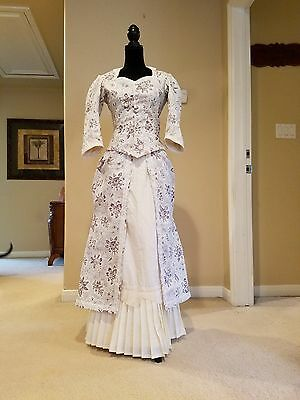 48 HOUR SALE!!!! Victorian Bustle dress in blue and ivory cotton