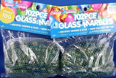 New TIME 2 PARTY Cat's Eye Glass Marbles (LOT of 2) Fun Toy Games Display - Aus