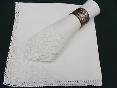 """2 Antique Linen Italian Hand Crafted Dinner Napkins-Reticella Needlelace-18"""""""