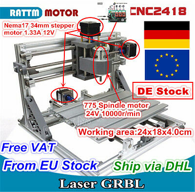 (DE Stock)3 Axis DIY Mini Desktop 2418 GRBL CNC Router Engraving Milling Machine