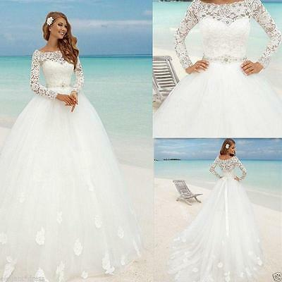 NEW WHITE/IVORY LONG Sleeve Lace Tulle Wedding Dress Bridal Gown ...