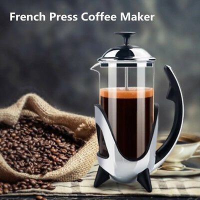 French Press Cafetiere Coffee Plunger Maker 350ml Stainless Steel Glass Tea Pot