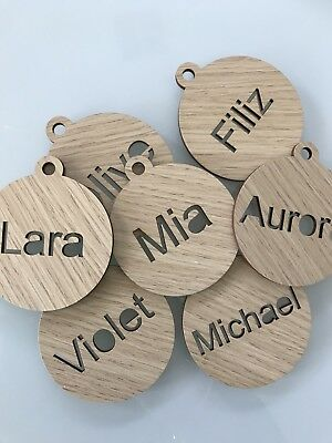 Wooden Personalised Christmas Baubles Laser Cut