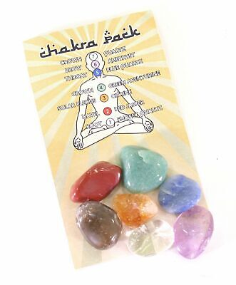 Chakra Pack of Seven Types of Tumbled Natural Crystal With Chakra Information...