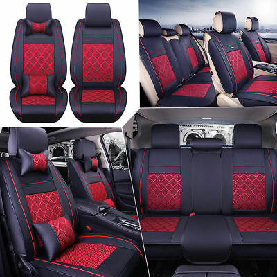 AU PU Leather Seat Covers Car 5-Seats Front+Rear+Neck Lumbar Pillows Set BLK/RD