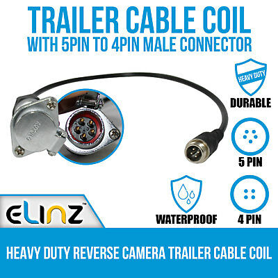 Heavy Duty Reverse Camera Trailer Cable Coil with 5PIN to 4PIN Male Connector