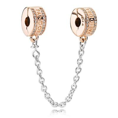 Genuine Pandora Collection Rose Gold Insignia Safety Chain 782057CZ