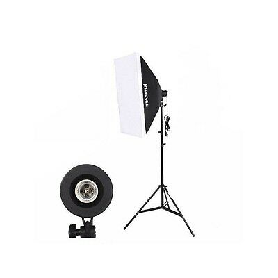 Kit iluminación fotografía y video - Softbox 50x70 + Pie + Soporte para Bombilla