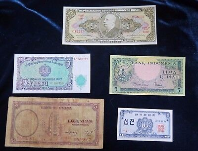 Five Mixed World Banknotes Brazil Bulgaria Indonesia China Korea [Set 1 of 2]