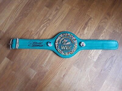 Hand signed  replica Leather Mini WBC Diamond boxing belt by Manny Pacquiao