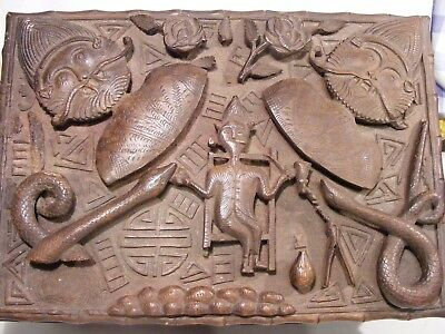 Antique Chinese Masonic ? Craved Wooden Box Dragons Gods And Snake